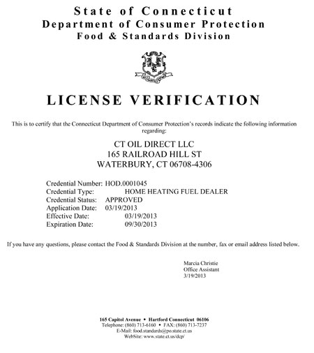 CT Oil Direct License Verification